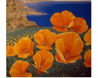 Poppies on Shorline California Highway 1, Big Sur Ocean Nature Landscape, Original illustration Artist Print Wall Art, Free shipping in USA.