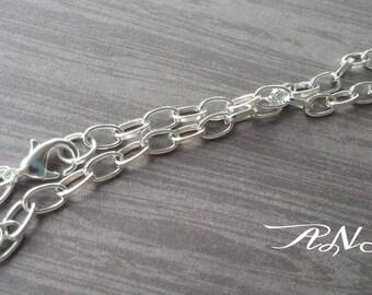 Charm Bracelets Shiny Silver Bracelets Link Chain Bracelets 2 pieces
