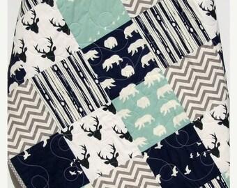 Baby Quilt, Boy, Navy Blue Grey Gray, Elk Deer, Woodlands , Forest, Birch, Modern Blanket, Chevron Bear Aztec, Crib Bedding, Toddler, Baby