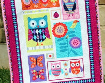 SALE Girl Baby Quilt Blanket Nursery Crib Bedding Quilt Wing and Things Owls Butterflies Flowers Pink Purple Aqua Cute Adorable Baby Bedding