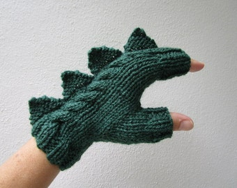 Dragon, dinosaur, monster dark green fingerless mittens gloves, wool, mohair and bamboo, medium female adult