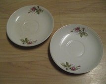 Nasco Moss Rose Saucers - Set Of (2) Vintage Pink Flower Pattern Japan China