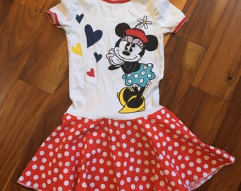Girls Size 6 7 Upcycled Minnie Mouse Dress Circle  Dress ready to ship (S-2-3)