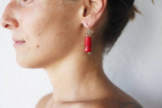 Red Earrings, Coral Earrings, Modern Coral Earrings