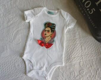 Olivia Paige - Rockabilly baby punk rock Frida Kahlo Flower bow cameo bodysuit