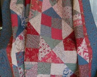 Handmade Quilt, 64 x 74 inch, Blue, Pink, Green
