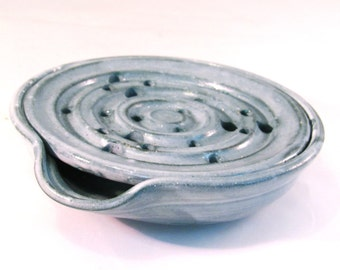 Soap Dish with Drain Tray - one Piece Soap Saver for Kitchen or Bath - Handmade Pottery Glazed in Frosted Teal