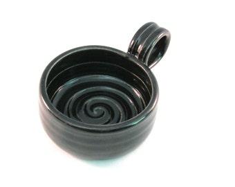Shaving Mug - Handmade Pottery - Shave Mug - Shave Bowl - Pottersong - Ridges for Good Soap Lather - Comfort Shave - Black - Gift for Man