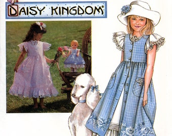 "Simplicity 7010 Daisy Kingdom Sewing Pattern for Girls' Pinafore, Dress and Doll Clothes for 17"" Doll - Uncut - Size 12, 14"