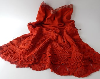 Rare French Vintage Knitted Petticoat Provence Folkloric