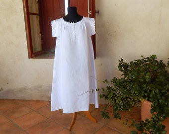 French Vintage Chemise Nightgown Fine Linen with  Embroidery
