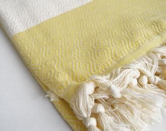 SALE 50% OFF/ Diamond Bathstyle Turkish BATH Towel Peshtemal -A- Light Yellow - Bath, Beach, Spa, Swim, Pool Towels