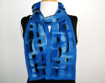 Blue abstract fiber painting, nuno felt scarf