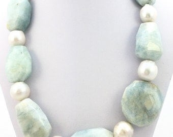 Giant AQUAMARINE Baroque PEARL NECKLACE Choker Spring Summer Elegant Statement