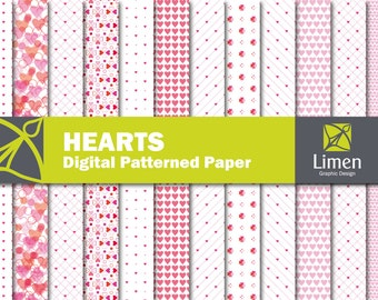 Heart Digital Paper Pack, Valentines Day, Hart Scrapbook Paper, Love Digital Paper, Heart Pattern, Hearts Background, Heart Paper, Romantic