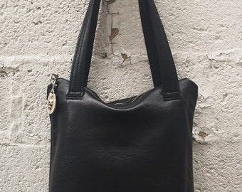 Zippered Leather Tote - Black pebbled Brahma leather tote with grey lining - Laurel Dasso