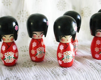 "RED Sakura chan - 1 Wooden Japanese Kokeshi doll (2.75""x1"" at widest points)"