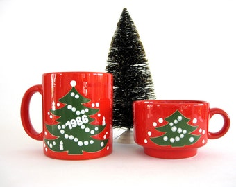 Vintage Christmas Mug Coffee Cup Set Waechtersbach West Germany Red Ceramic Green Xmas Tree 1986