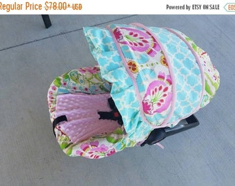 Fall SALE Baby Girl Infant car seat cover-beautiful pinks blues and greens with pink minky  and accent ruffle -  Always comes with FREE stra
