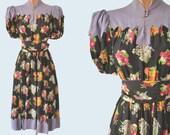 1930s Handmade Floral Silk Dress size XS