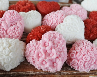 50 White, Pink, and Red Heart Soap Favors:  Wedding Favors, Birthday Favors, Beach Favors, Baby Shower Favors, Mothers Day
