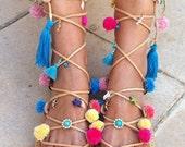 SUMMER SALES Boho sandals, pom pom sandals, gladiator sandals,bohemian sandals
