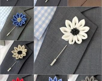 1 Felt Daisy flower lapel pin, Mens lapel flower Boutonniere, Wool Felt Lapel Flower pin, rose boutonniere, flower lapel pin, mens gift,
