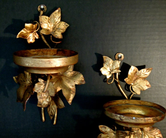 Two Vintage Italian Florentine Wall Sconces / Candle Wall