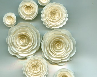 Off White Handmade Rose Spiral Paper Flowers