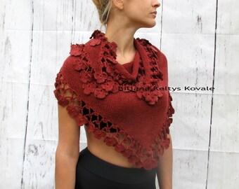 red terracotta color, bordeaux ... Chale crocheté Women Accessories Crochet shawl with floral details