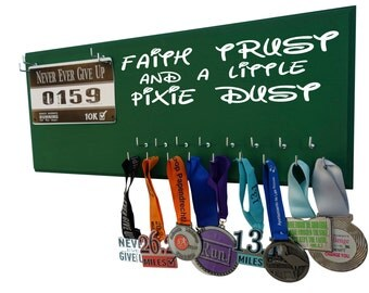 Run disney, Running medal and race bib holder, faith trust and a little pixies dust, Tinker bell inspired medal holder and bib display rack