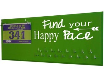 Running Medal Holder and Race Bib Hanger RUNNING  - Find your happy pace - Racing bib display - gifts for runners