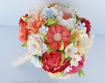 Paper Bouquet - Paper Flower Bouquet - Wedding Bouquet - Shades of Peach and Coral - Custom Made - Any Color