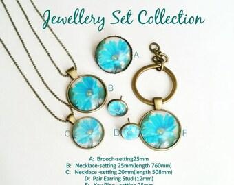Flowers Jewellery Set Collection, Earring Stud, Necklace, Brooch, Key Ring EN159