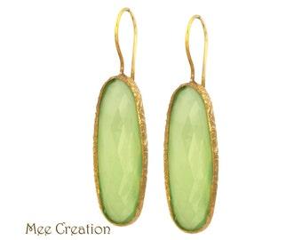 EE10240001) Green Chalcedony Earrings, Green Chalcedony Oval Checkerboard Earrings, Green Earrings, Chalcedony Earrings