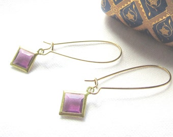 Purple Beveled Glass Diamond Shaped Gold Brass Earrings/ Pierced