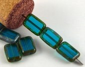 Czech Glass Beads Teal Picasso 8x12mm- 25 beads