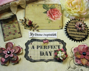 Prima Romance Novel Handmade Paper Embellishments and Paper Flowers for Scrapbook Layouts Cards Tags Mini Albums and Paper Crafts