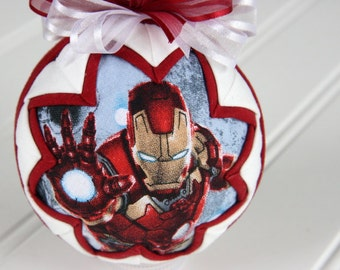 Quilted Ornament Ball/Red and White - Ironman