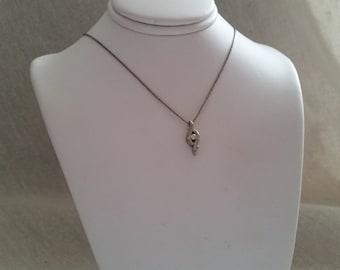 Vintage diamond pendant silver