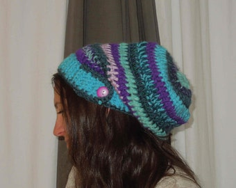 Slouchy hat with ribbed band PDF Crochet slouchy hat pattern chunky crochet pattern 205