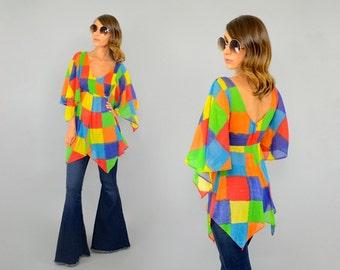 70's Rainbow CHECKERED Tunic