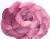 Spinning Fiber Wensleydale Roving Hand dyed Rose Wine Variegated Top Wool 4 ounces