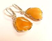 """Baltic Amber Butterscotch Earrings 1.65"""" 7.3 gram 925 Silver"""
