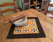 Quilted Table Runner / Table Topper/ Primitive Decor / Handmade Fall Decor / 18 x 18