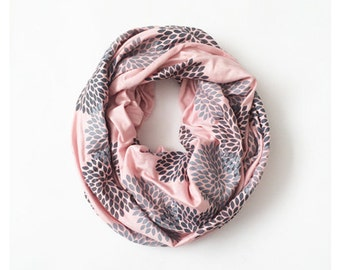 INFINITY SCARF - Hand Printed - Gray Flowers on Blush