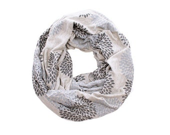 INFINITY SCARF - Screen Printed - Gray Double Flowers on Light Gray