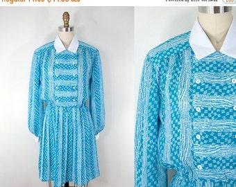 SALE 1980s Vintage Teal Print Short Secretary Dress (M)