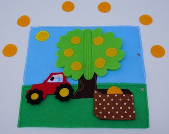 Picking Oranges Quiet Book Page / Fruit Picking Soft Activity Book / Quiet Activity Book / Birthday Gift For Toddler / Learning Book /