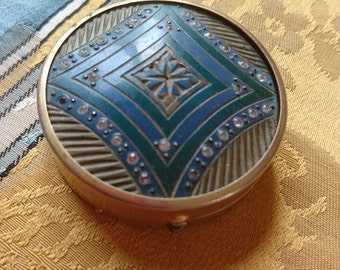 Adorable petite bejewelled antique French powder or rouge compact   ATTIC FIND c1920  Belle Brocante